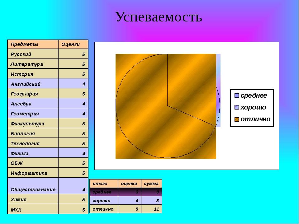 Успеваемость Предметы Оценки Русский 5 Литература 5 История 5 Английский 4 Ге...