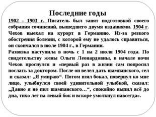 Последние годы 1902 - 1903 г. Писатель был занят подготовкой своего собрания