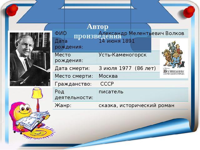 Автор произведения ФИО АлександрМелентьевичВолков Датарождения: 14июня1891 М...