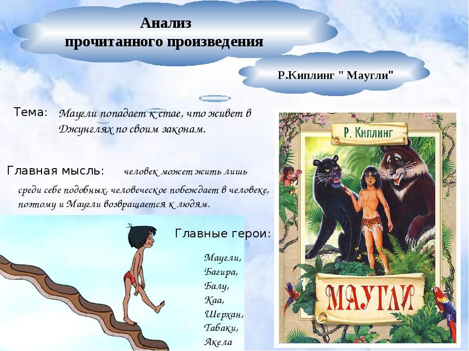 """Анализ прочитанного произведения Р.Киплинг """" Маугли"""" Маугли попадает к стае,..."""