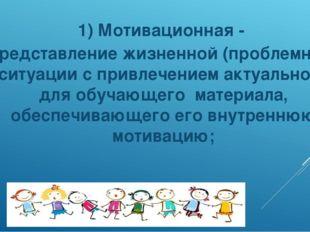 1) Мотивационная - представление жизненной (проблемной) ситуации с привлечени
