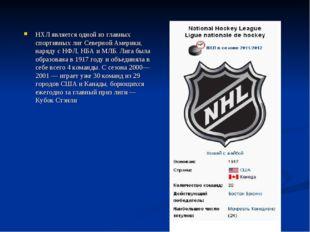 НХЛ является одной из главных спортивных лиг Северной Америки, наряду с НФЛ,