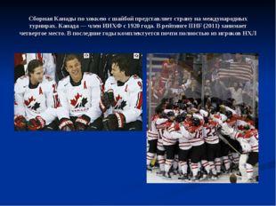 Сборная Канады по хоккею с шайбой представляет страну на международных турнир