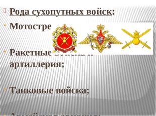 Рода сухопутных войск: Мотострелковые войска; Ракетные войска и артиллерия; Т