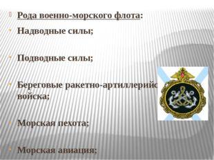 Рода военно-морского флота: Надводные силы; Подводные силы; Береговые ракетно