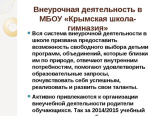Внеурочная деятельность в МБОУ «Крымская школа-гимназия» Вся система внеурочн