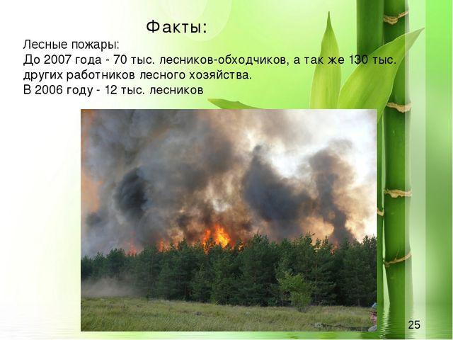Факты: Лесные пожары: До 2007 года - 70 тыс. лесников-обходчиков, а так же 1...