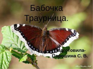 Подготовила- Порошина С. В. Бабочка Траурница.