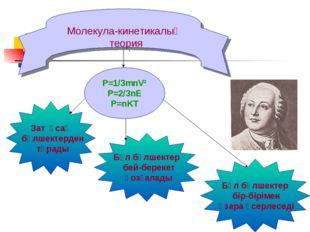 Молекула-кинетикалық теория P=1/3mnV² P=2/3nE P=nKT Зат ұсақ бөлшектерден тұр