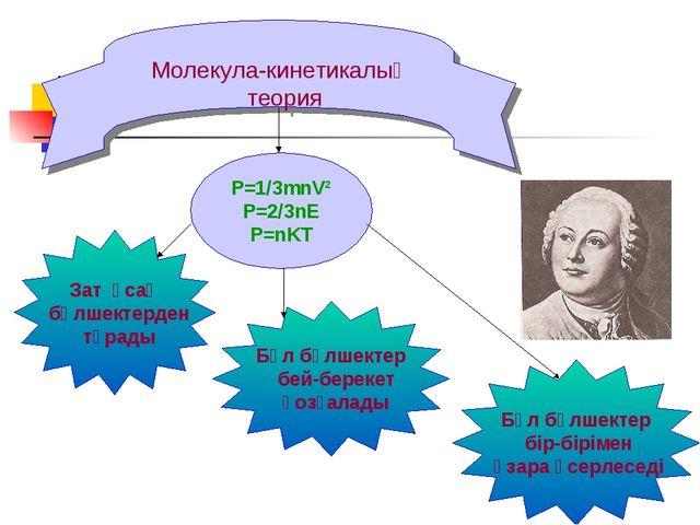 Молекула-кинетикалық теория P=1/3mnV² P=2/3nE P=nKT Зат ұсақ бөлшектерден тұр...
