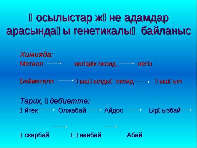 Қосылыстар және адамдар арасындағы генетикалық байланыс Химияда: Металл негіз...