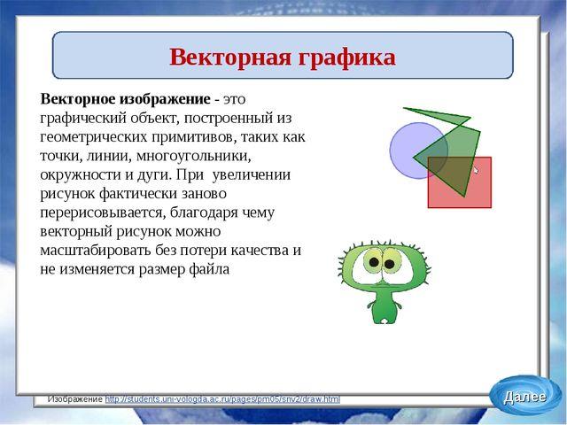 Векторное изображение- это графический объект, построенный из геометрических...
