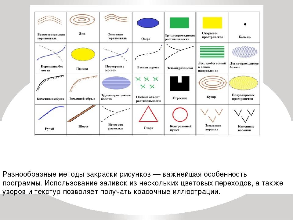 Разнообразные методы закраски рисунков — важнейшая особенность программы. Исп...