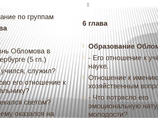 Задание по группам 5 глава Жизнь Обломова в Петербурге (5 гл.) Где учился, с...
