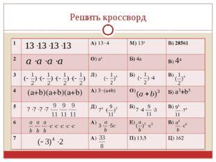 Решить кроссворд 1А) 134М) 134В) 28561 2О) а4Б) 4аВ) 4а 3Л) Б) В