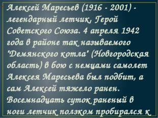 Алексей Маресьев(1916 - 2001) - легендарный летчик, Герой Советского Союза.