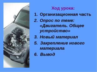Ход урока: Организационная часть Опрос по теме: «Двигатель. Общее устройство»