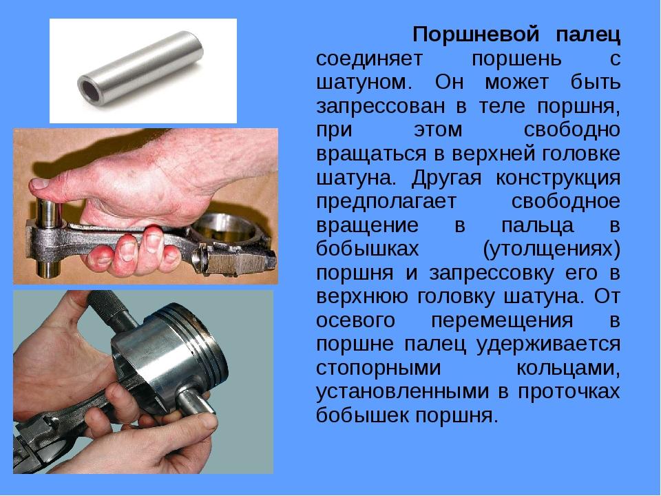 Поршневой палец соединяет поршень с шатуном. Он может быть запрессован в тел...