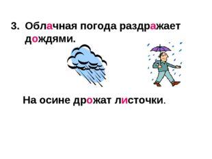 Облачная погода раздражает дождями. На осине дрожат листочки.