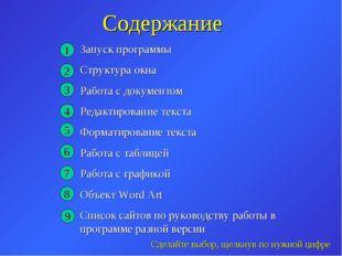 Содержание Запуск программы Структура окна Работа с документом Редактирование