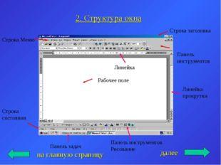 2. Структура окна на главную страницу Строка заголовка Строка Меню Панель инс