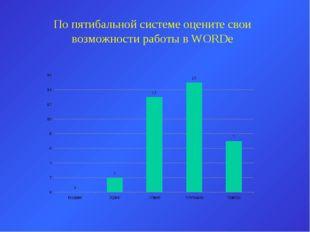 По пятибальной системе оцените свои возможности работы в WORDe