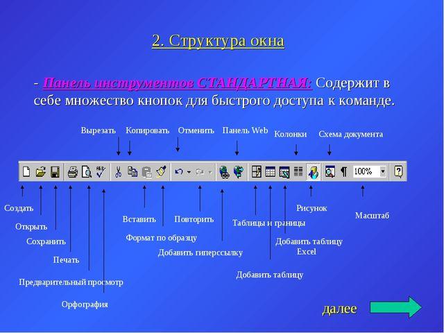 2. Структура окна - Панель инструментов СТАНДАРТНАЯ: Содержит в себе множеств...