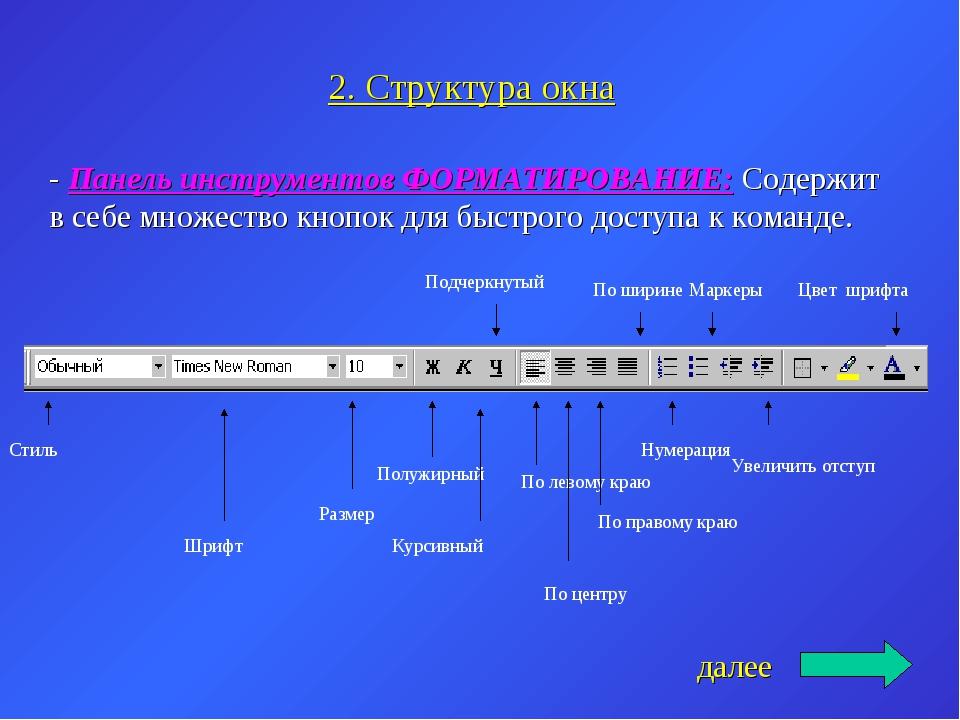 2. Структура окна - Панель инструментов ФОРМАТИРОВАНИЕ: Содержит в себе множе...