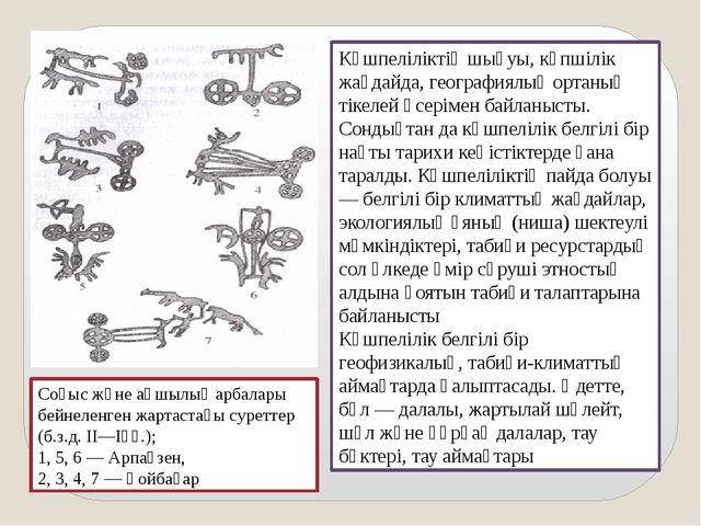 Соғыс және аңшылық арбалары бейнеленген жартастағы суреттер (б.з.д. ІІ—Іғғ.);...