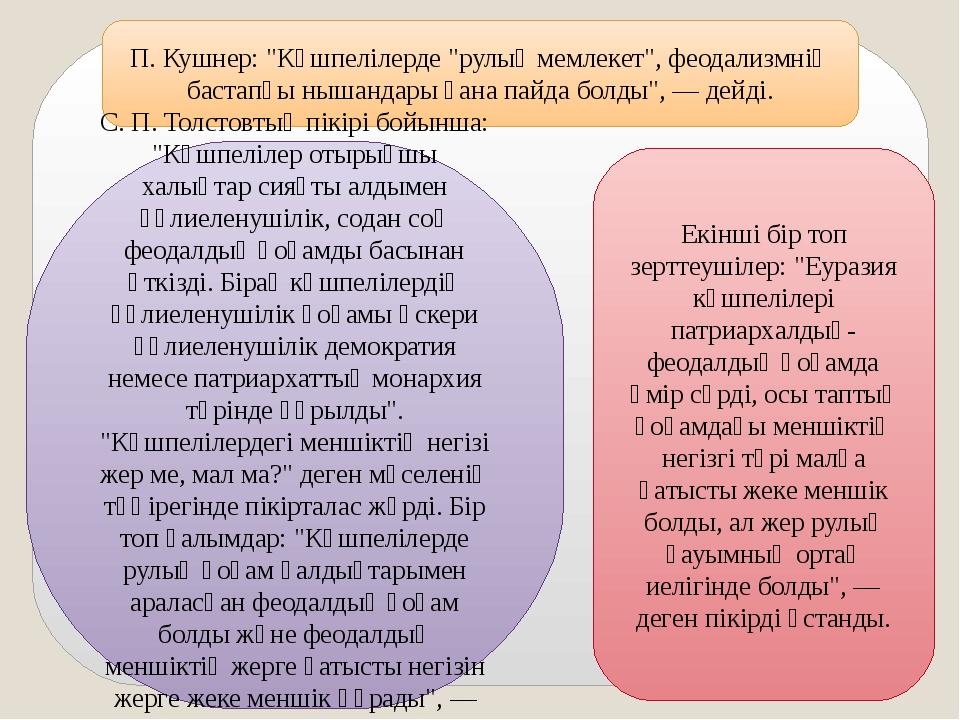 """П. Кушнер: """"Көшпелілерде """"рулық мемлекет"""", феодализмнің бастапқы нышандары ға..."""