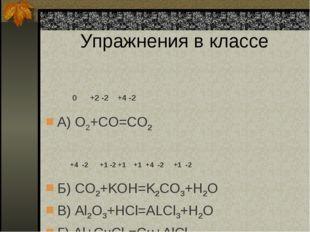 Упражнения в классе 0 +2 -2 +4 -2 А) O2+CO=CO2 +4 -2 +1 -2 +1 +1 +4 -2 +1 -2