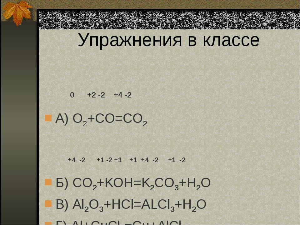 Упражнения в классе 0 +2 -2 +4 -2 А) O2+CO=CO2 +4 -2 +1 -2 +1 +1 +4 -2 +1 -2...