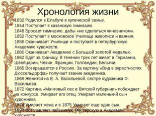 Хронология жизни 1832 Родился в Елабуге в купеческой семье. 1844 Поступает в