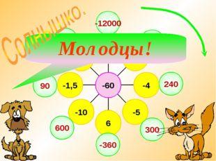 -12000 -180 240 300 -360 600 90 -7,2 Молодцы!