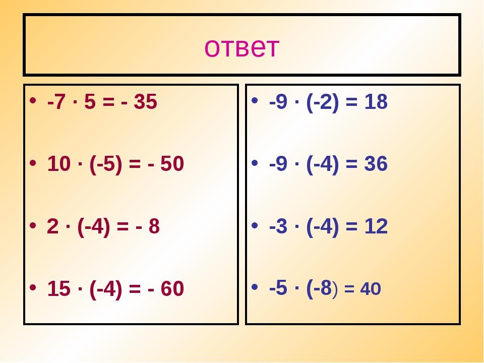 ответ -7 · 5 = - 35 10 · (-5) = - 50 2 · (-4) = - 8 15 · (-4) = - 60 -9 · (-2...