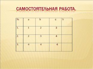 № а b cS 1. 1 2 3 2. 2 3 4 3. 4 4 4