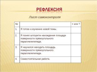 Лист самоконтроля №+ или ? 1.Я готов к изучению новой темы. 2.Я понял а