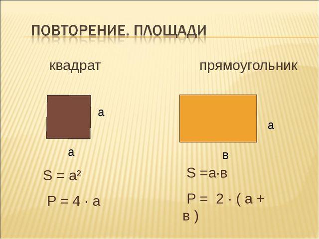 квадрат прямоугольник а а в S = а² Р = 4 · а S =а·в Р = 2 · ( а + в ) а