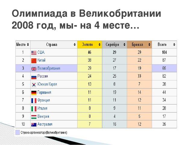 Олимпиада в Великобритании 2008 год, мы- на 4 месте…