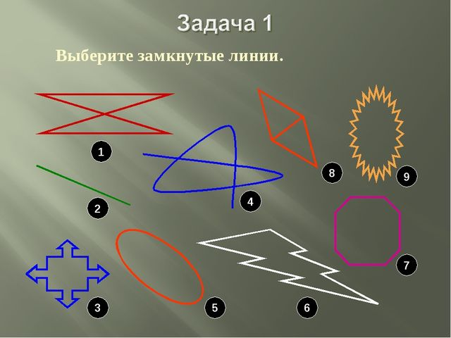Выберите замкнутые линии. 1 2 3 5 6 7 4 8 9