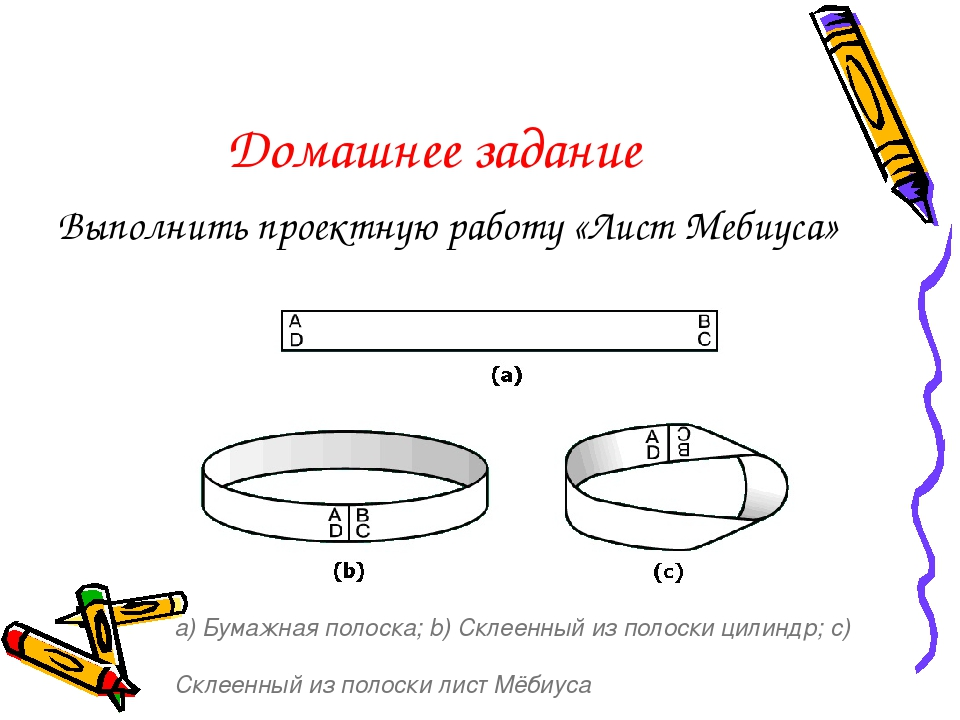Домашнее задание Выполнить проектную работу «Лист Мебиуса» а) Бумажная полоск...