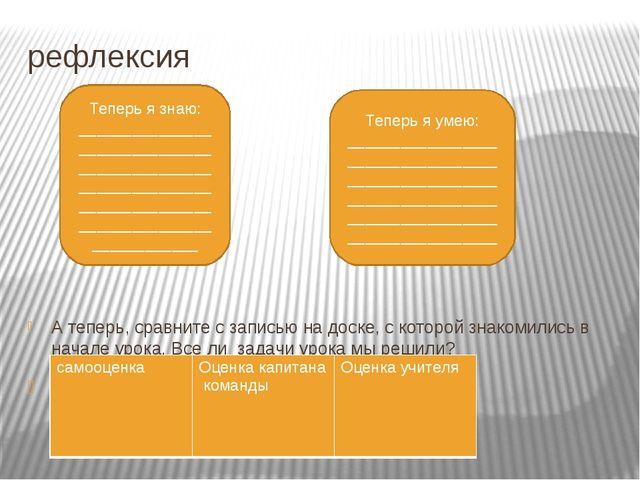 рефлексия А теперь, сравните с записью на доске, с которой знакомились в нача...