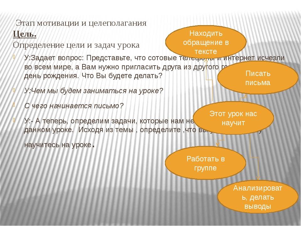 Этап мотивации и целеполагания Цель. Определение цели и задач урока У:Задает...