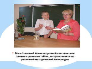 Мы с Натальей Александровной сверяли свои данные с данными таблиц и справочни