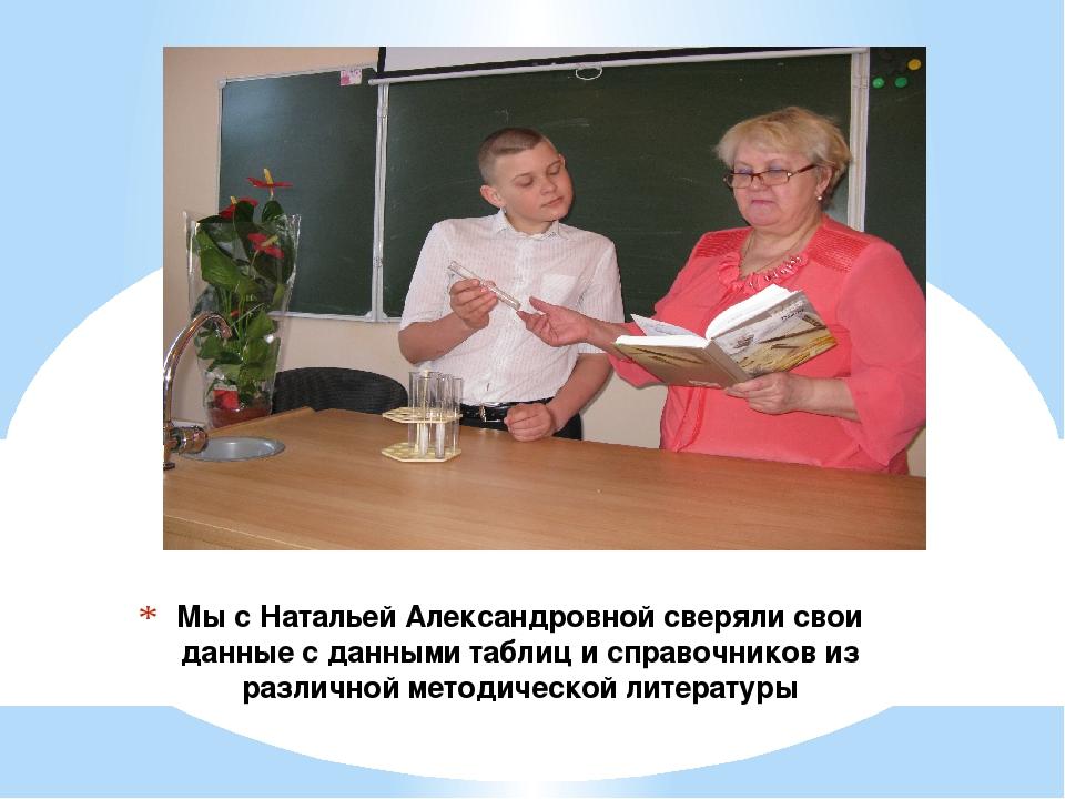 Мы с Натальей Александровной сверяли свои данные с данными таблиц и справочни...