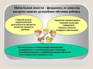 Начальная школа – фундамент, от качества которого зависит дальнейшее обучени