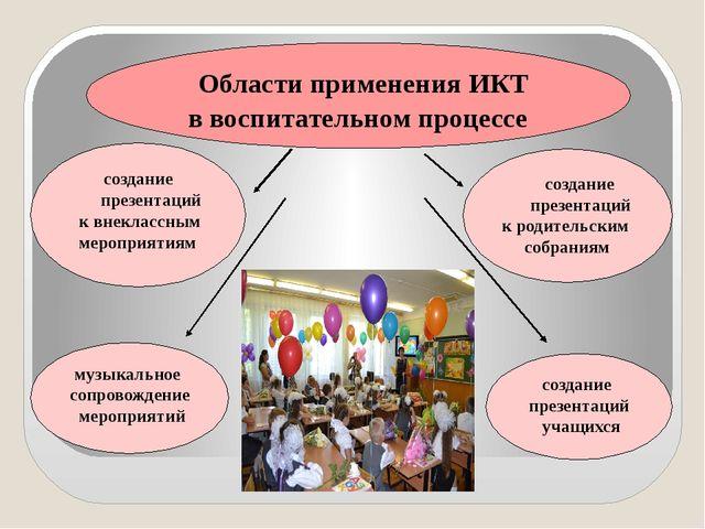 Области применения ИКТ в воспитательном процессе создание презентаций учащих...