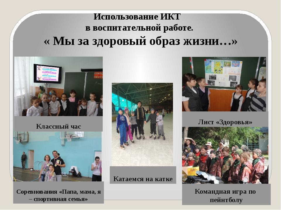 Использование ИКТ в воспитательной работе. « Мы за здоровый образ жизни…» Кла...