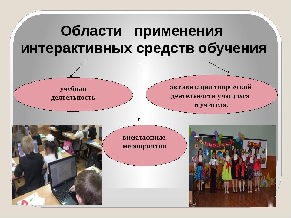 Области применения интерактивных средств обучения учебная деятельность внекла...