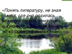 «Понять литературу, не зная мест, где она родилась, не менее трудно, чем пон